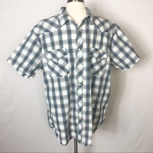 Lucky 🍀 Brand Western Plaid Pearl Button SS Shirt